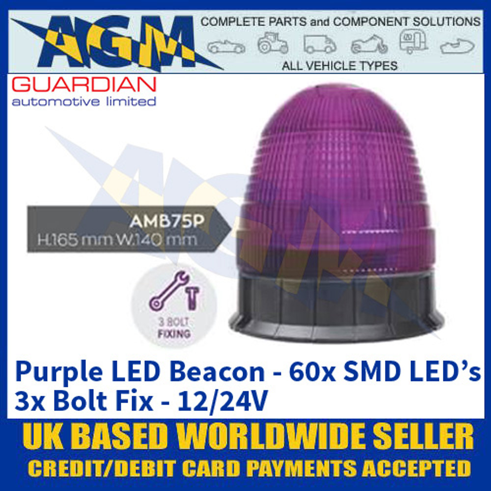 Guardian Automotive AMB75P Purple LED Beacon - 3x Bolt Fix - 12/24V