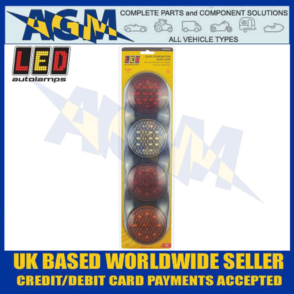 LED Rear Combination Lamp with Stop, Tail, Indicator, Fog, Reverse - 12/24V