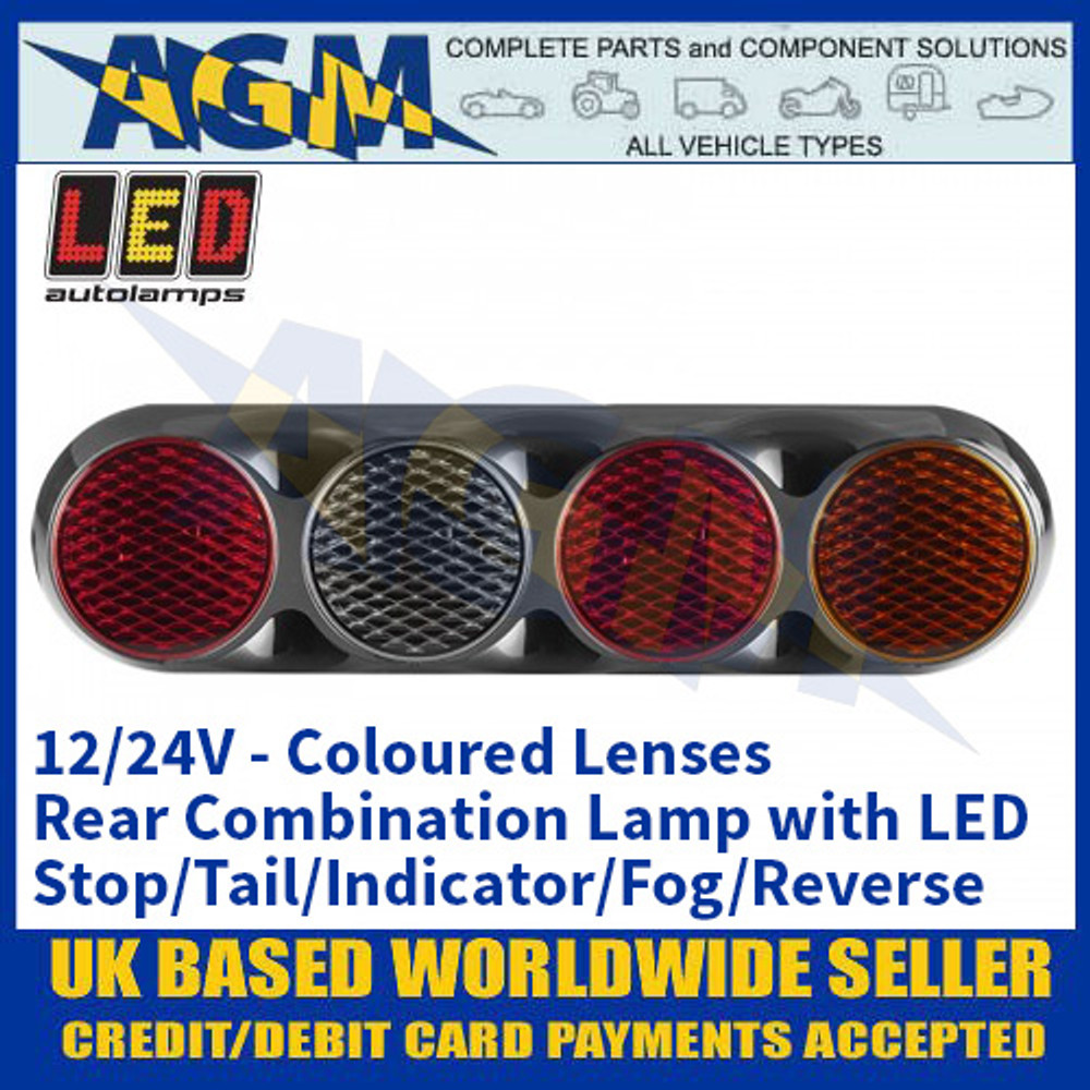 LED Rear Combination Lamp with Stop, Tail, Indicator, Fog, Reverse - Coloured Lens 12/24V