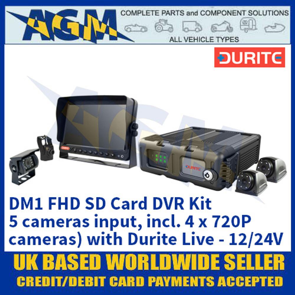 Durite 0-774-06 DM1 FHD SD Card DVR Kit (5 cameras input, incl. 4 x 720P cameras) with Durite Live - 12/24V