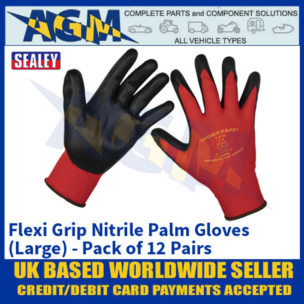 Sealey 9125L/12 Flexi Grip Nitrile Palm Gloves (Large) - Pack of 12 Pairs