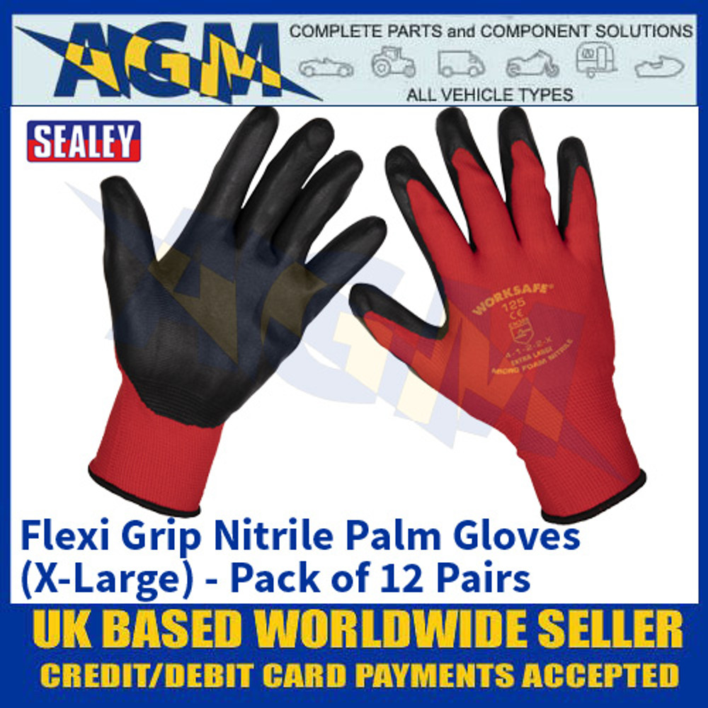 Sealey 9125XL/12 Flexi Grip Nitrile Palm Gloves (X-Large) - Pack of 12 Pairs
