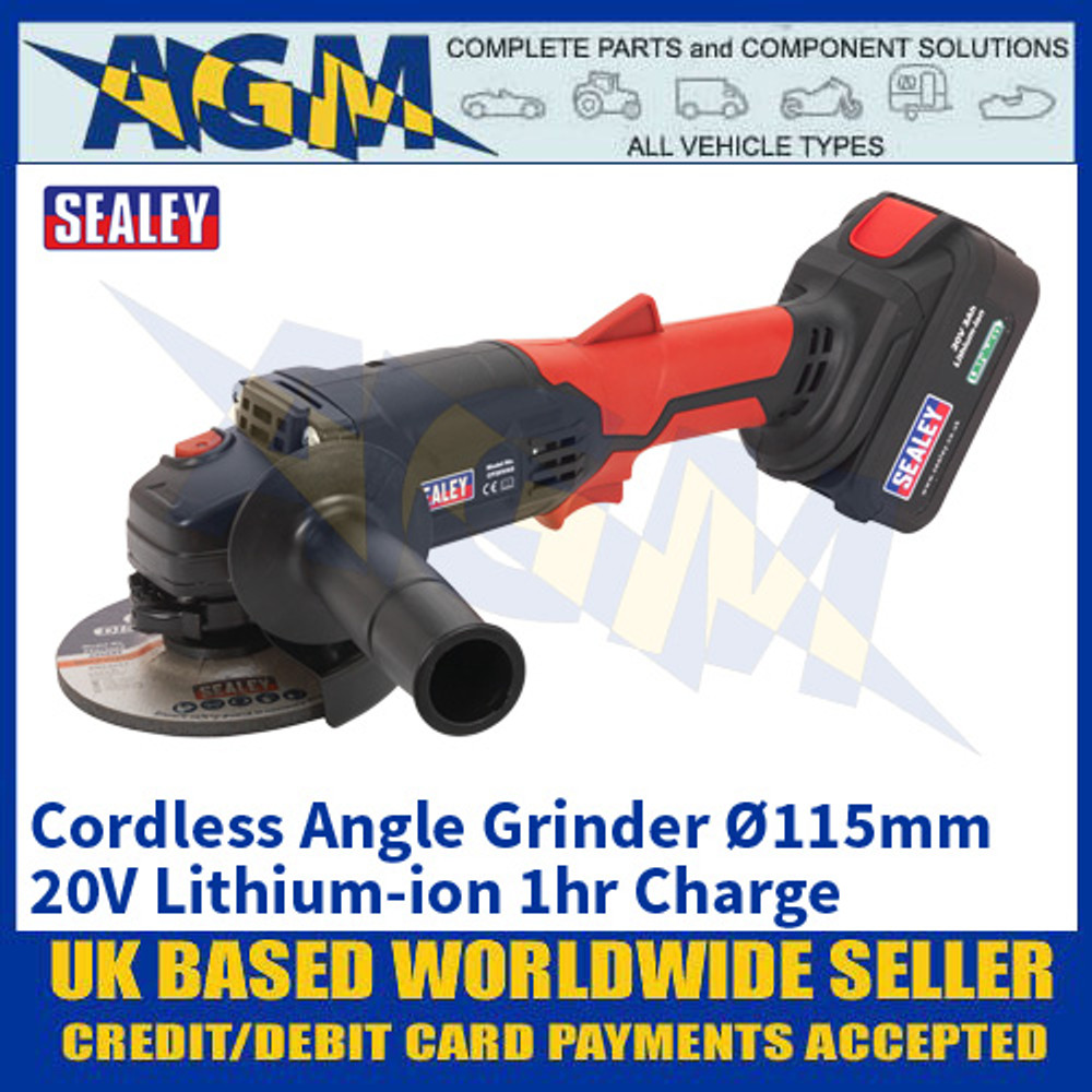 Sealey CP20VAG Cordless Angle Grinder Ø115mm 20V Lithium-ion 1hr Charge