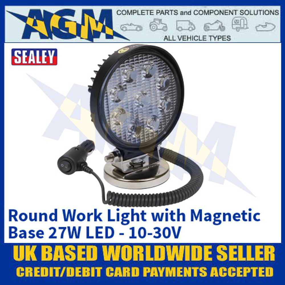 Sealey LED3RM Round Work Light with Magnetic Base 27W LED