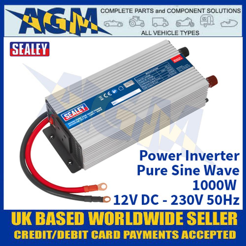 Sealey PSI1000 Power Inverter Pure Sine Wave 1000W 12V DC - 230V 50Hz