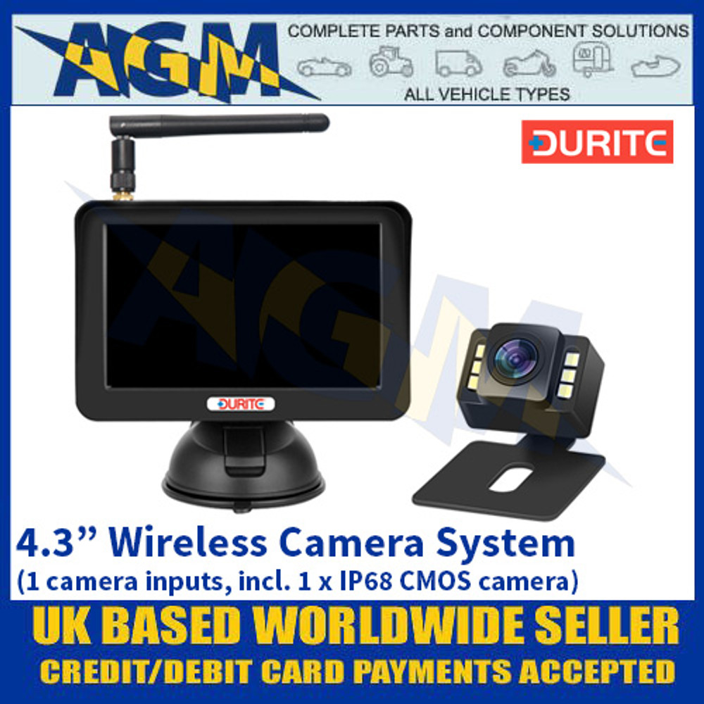 "Durite 0-776-43 4.3"" Wireless Camera System (1 camera inputs, incl. 1 x IP68 CMOS camera)"