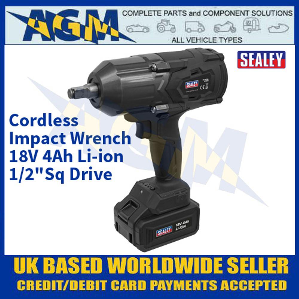"Sealey CP1812 Cordless Impact Wrench 18V 4Ah Li-ion 1/2""Sq Drive"