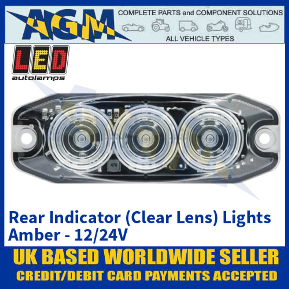 LED Autolamps 11ACM Rear Indicator (Clear Lens) Lights Amber - Low Profile - 12/24V