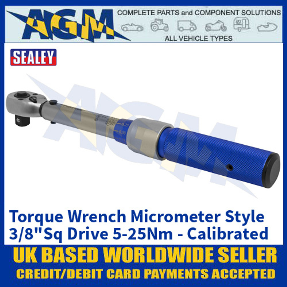 """Sealey STW902 Torque Wrench Micrometer Style 3/8""""Sq Drive 5-25Nm - Calibrated"""