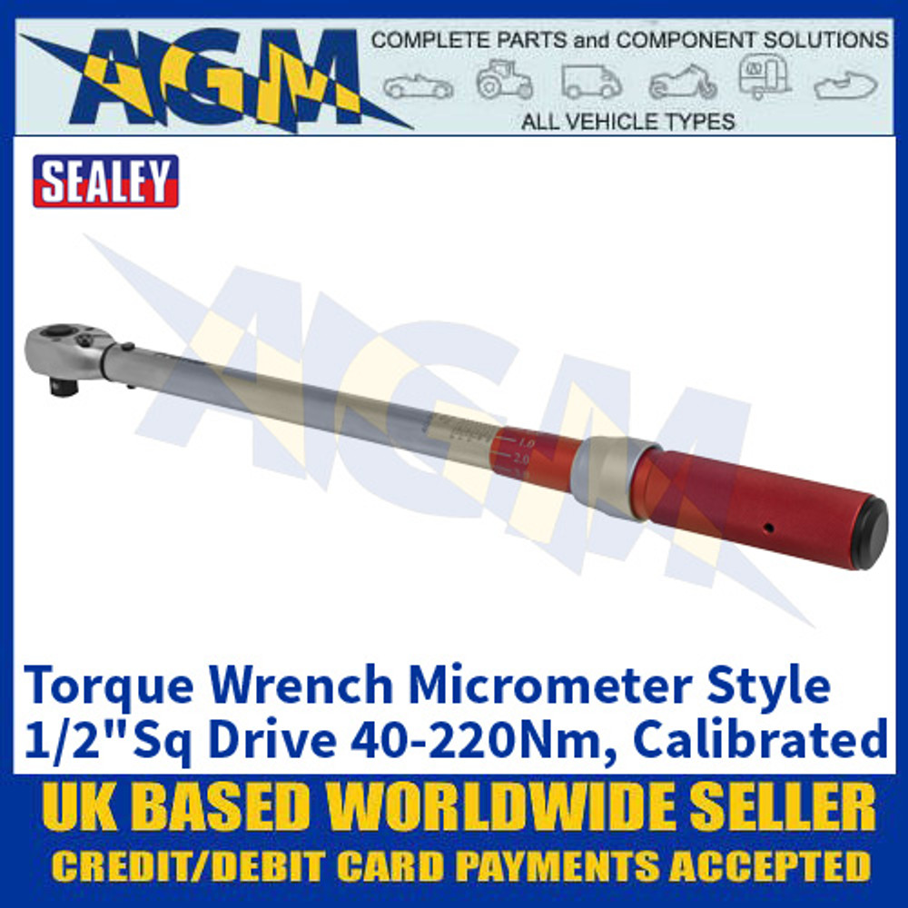 "Sealey STW904 Torque Wrench Micrometer Style 1/2""Sq Drive 40-220Nm - Calibrated"
