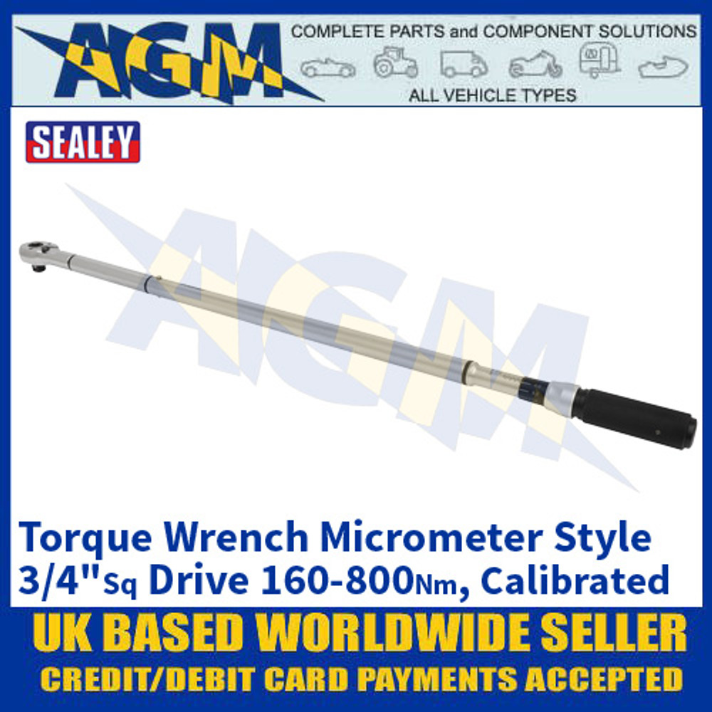 """Sealey STW907 Torque Wrench Micrometer Style 3/4""""Sq Drive 160-800Nm - Calibrated"""