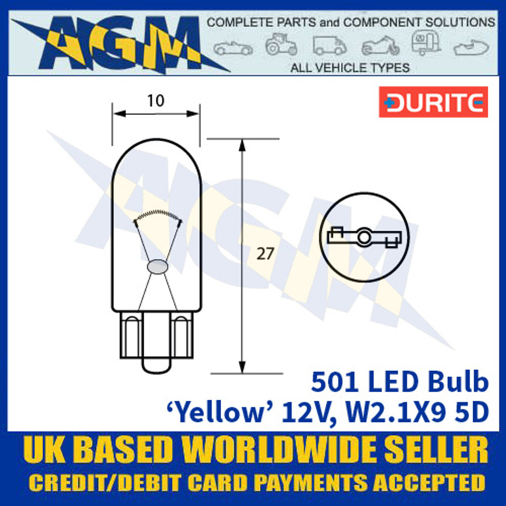 Durite 501 LED Bulb 12V W2.1X9 5D - Yellow - x2 Pack