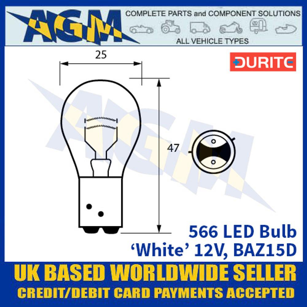 Durite 566 LED Bulb 12V BAZ15D - White - x2 Pack