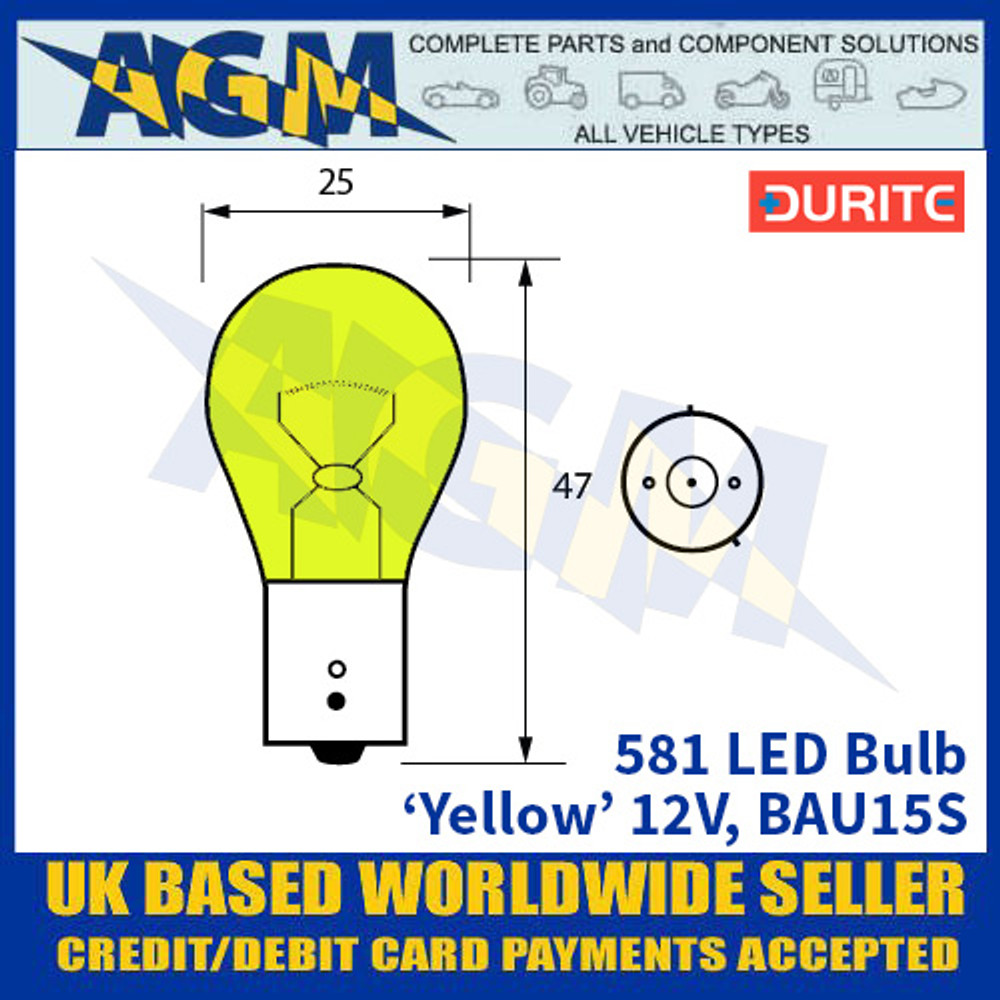 Durite 581 LED Bulb 12V BAU15S - Yellow - x2 Pack