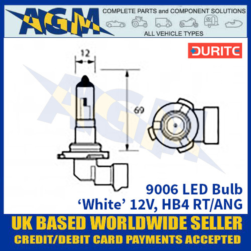 Durite 9006 LED Bulb 12V HB4 RT/ANG - White