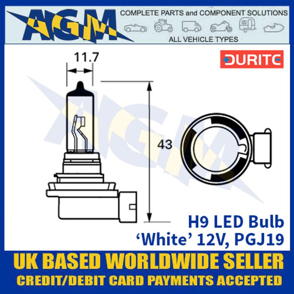Durite H9 LED Bulb 12V PGJ19 - White