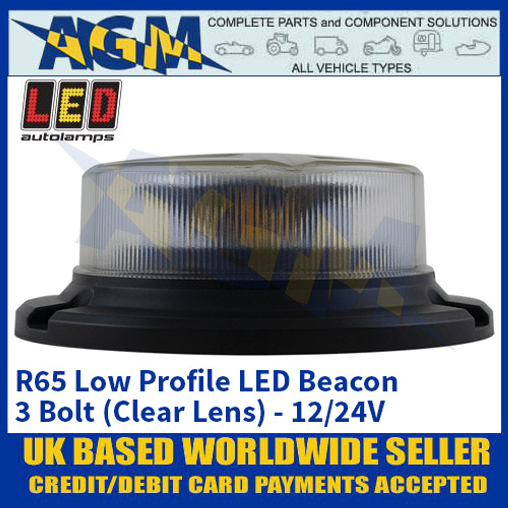 LED Autolamps R65 Low Profile LED Beacon - 3 Bolt (Clear Lens) - 12/24V