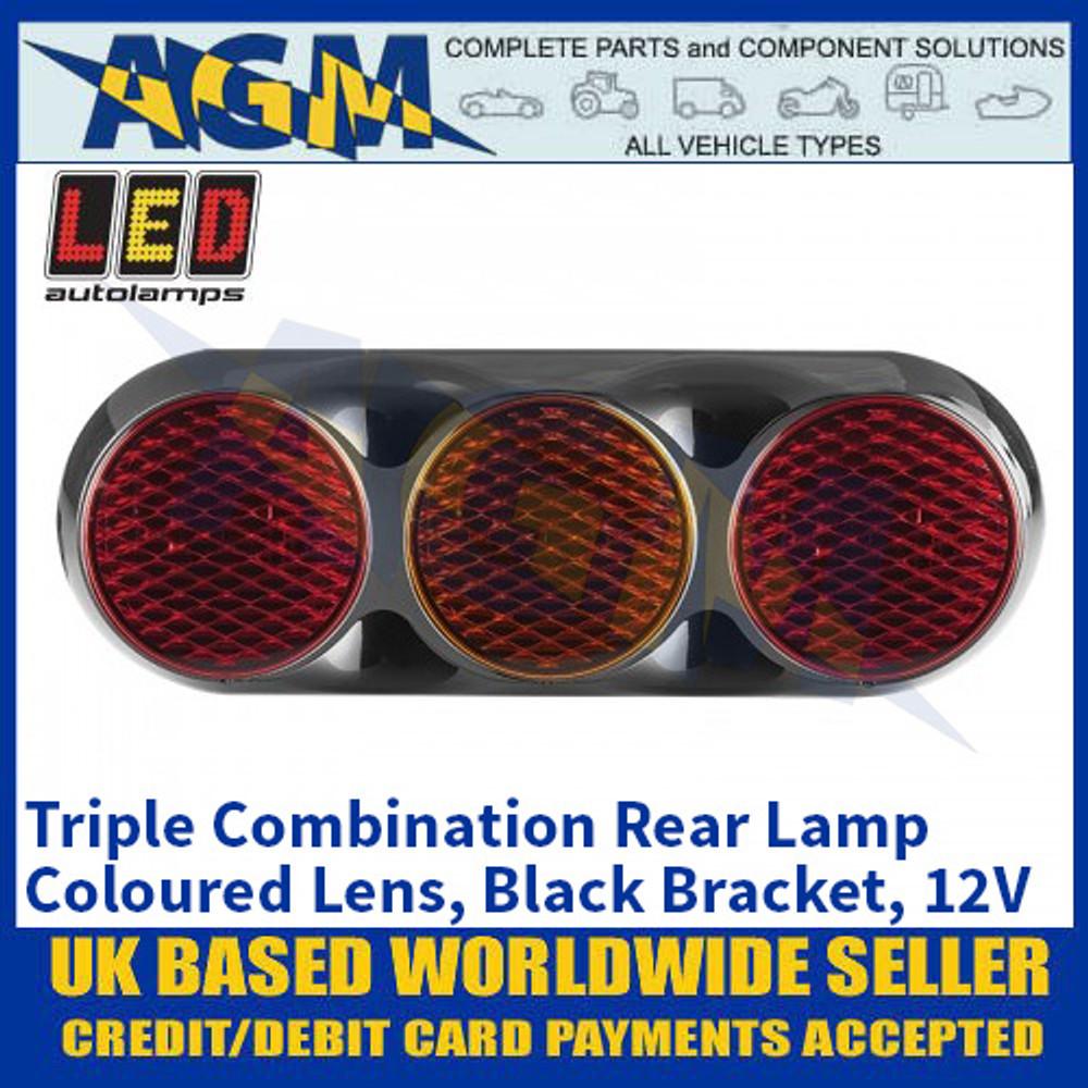 LED Autolamps 82BFAR Triple Combination Rear Lamp - Coloured Lens - Black Bracket - 12V