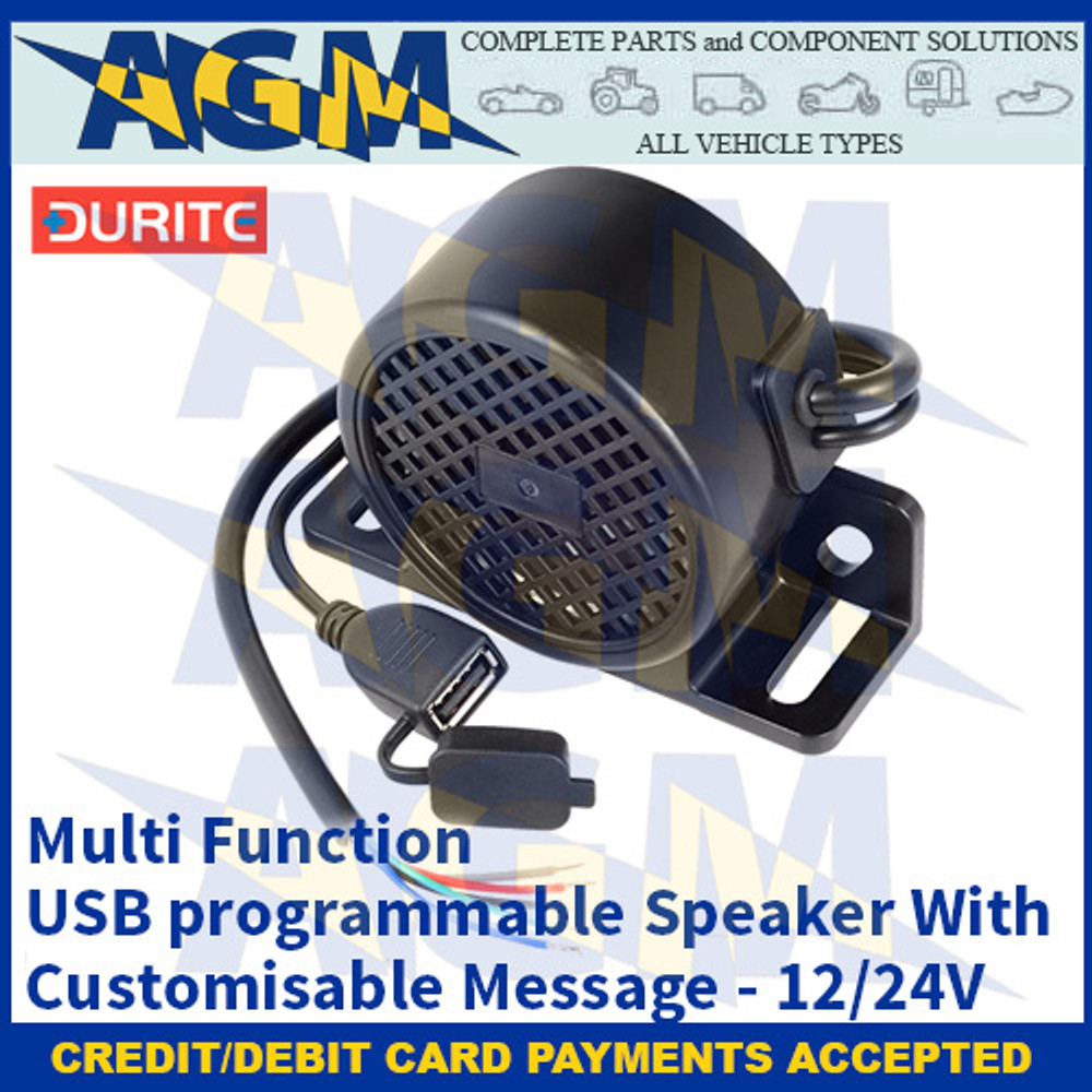 Durite 0-564-75 Multi Function USB programmable Speaker With Customisable Message - 12/24V