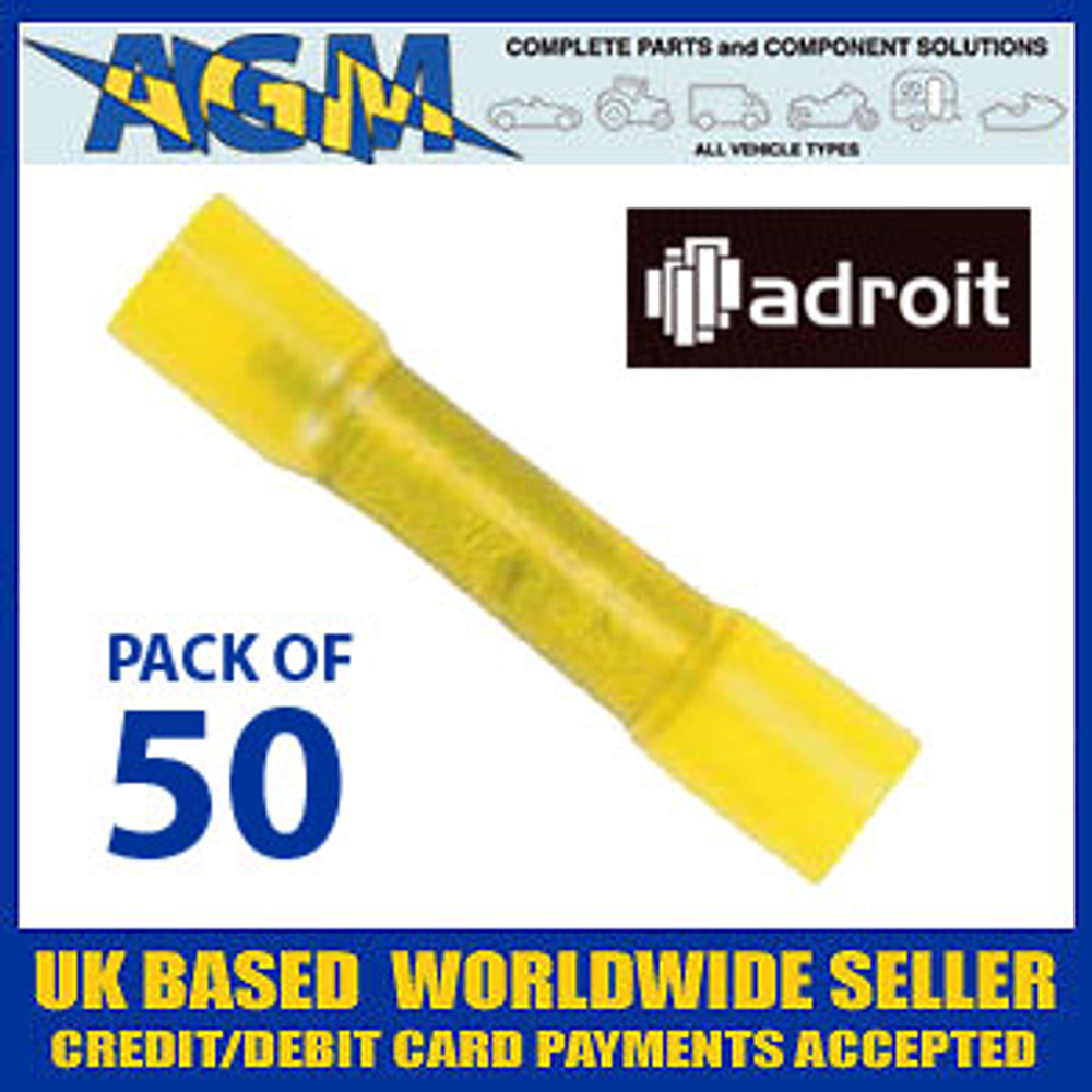 ADROIT AUB628B Pack of 50 Yellow Insulated Heatshrink Crimp Connectors