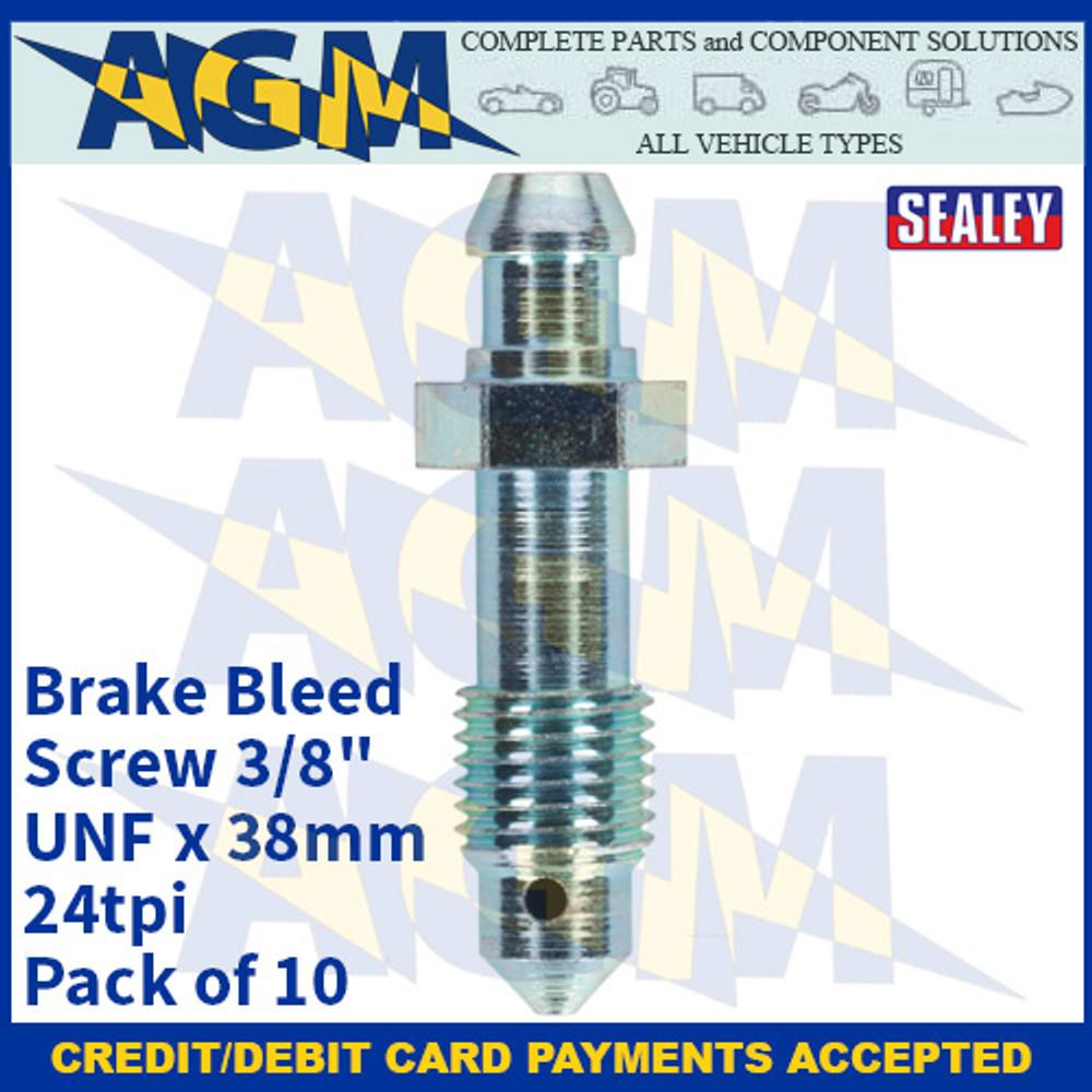 "Sealey BS382438 Brake Bleed Screw 3/8""UNF x 38mm 24tpi Pack of 10"