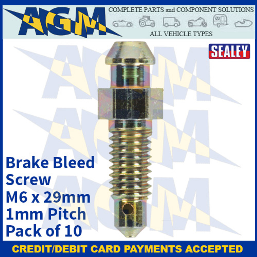 Sealey BS6129 Brake Bleed Screw M6 x 29mm 1mm Pitch Pack of 10