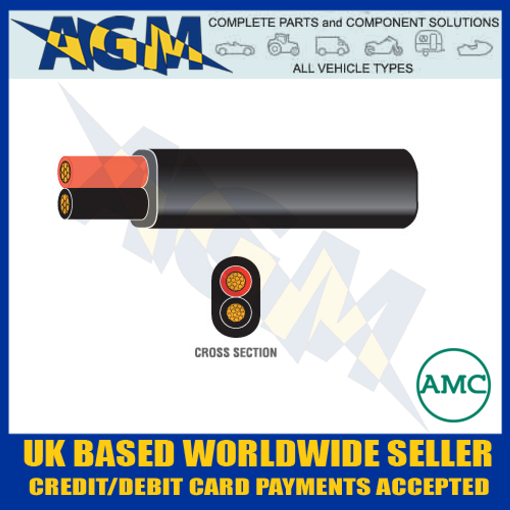 Auto-Marine 1652.30/ Durite 0-953-00 Red/Black Flat Twin Core Cable (30m Roll)