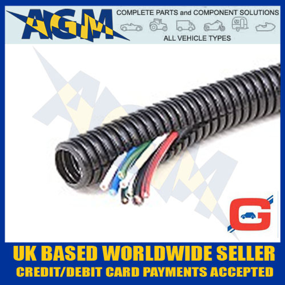 Guardian GCS7 Convoluted Pre-Split Black Nylon Tubing Trunking 10mm OD 10 Metre