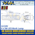 LED Autolamps 16018BW Rectangular 6 x 3W LED Work Lamp, Dimensions
