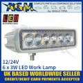 LED Autolamps 16018WM Rectangular 6 x 3W LED Work Lamp, White, 12/24v