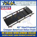 "Sealey SCR74 Creeper 40"" with Steel Frame, Delux American Style, 6 Wheels + Headrest"