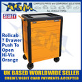 Sealey APPD7O Rollcab 7 Drawer Push-To-Open Hi-Vis Orange