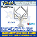 Maxview Omnimax Pro Omni-directional Mobile TV and Radio Aerial - White - 12/24V