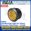 Durite 0-607-40 Amber LED Warning Light for 20mm Diameter Panel Hole - 12/24V