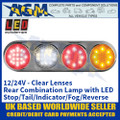 LED Rear Combination Lamp with Stop, Tail, Indicator, Fog, Reverse - Clear Lens - 12/24V