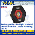 Sealey LED068 Rechargeable Floodlight 20W COB LED Lithium-ion Colour Matching CRI 96