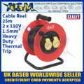 Sealey CR12515 Cable Reel 25m 2 x 110V 1.5mm² Heavy-Duty Thermal Trip