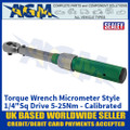 "Sealey STW901 Torque Wrench Micrometer Style 1/4""Sq Drive 5-25Nm - Calibrated"
