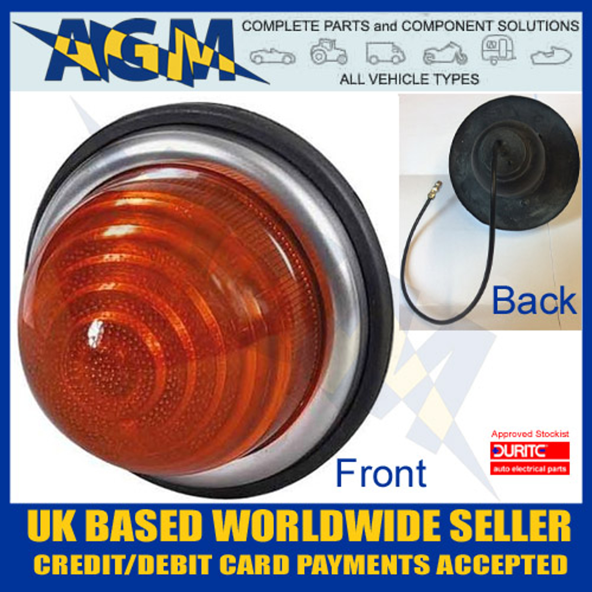 Durite 0-160-00 Classic Caravan, Motorhome, Mini 72mm Round Domed Amber  Indicator Lamp