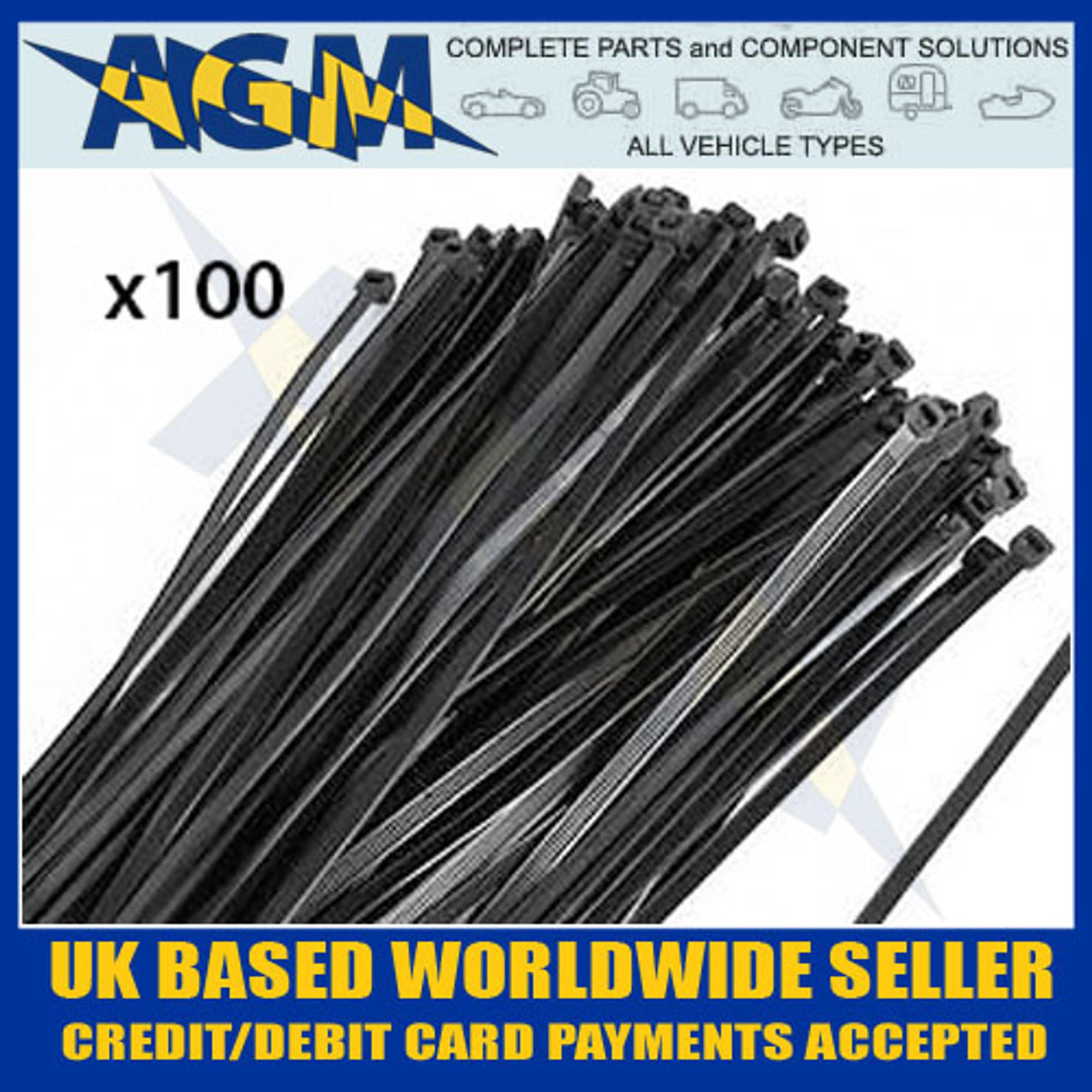 ca119ddbc6bd High Quality, Heavy Duty 300mm x 4.8mm Black Cable Ties x100 12