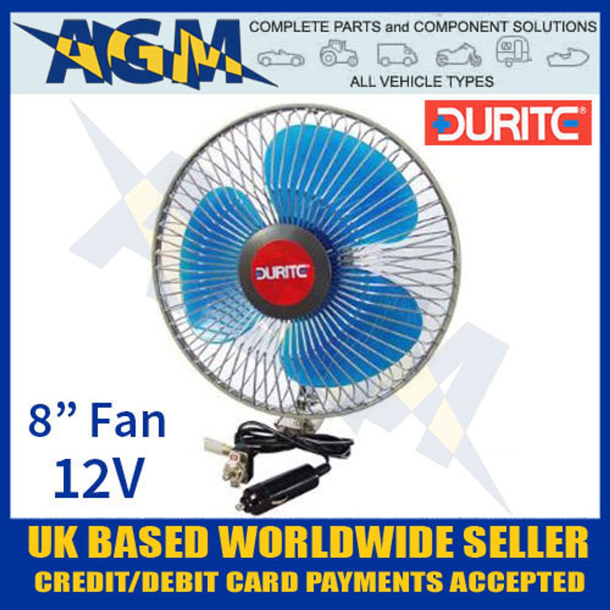 In Vehicle 12V 8 Inch Oscillating Fan Durite 0-210-62