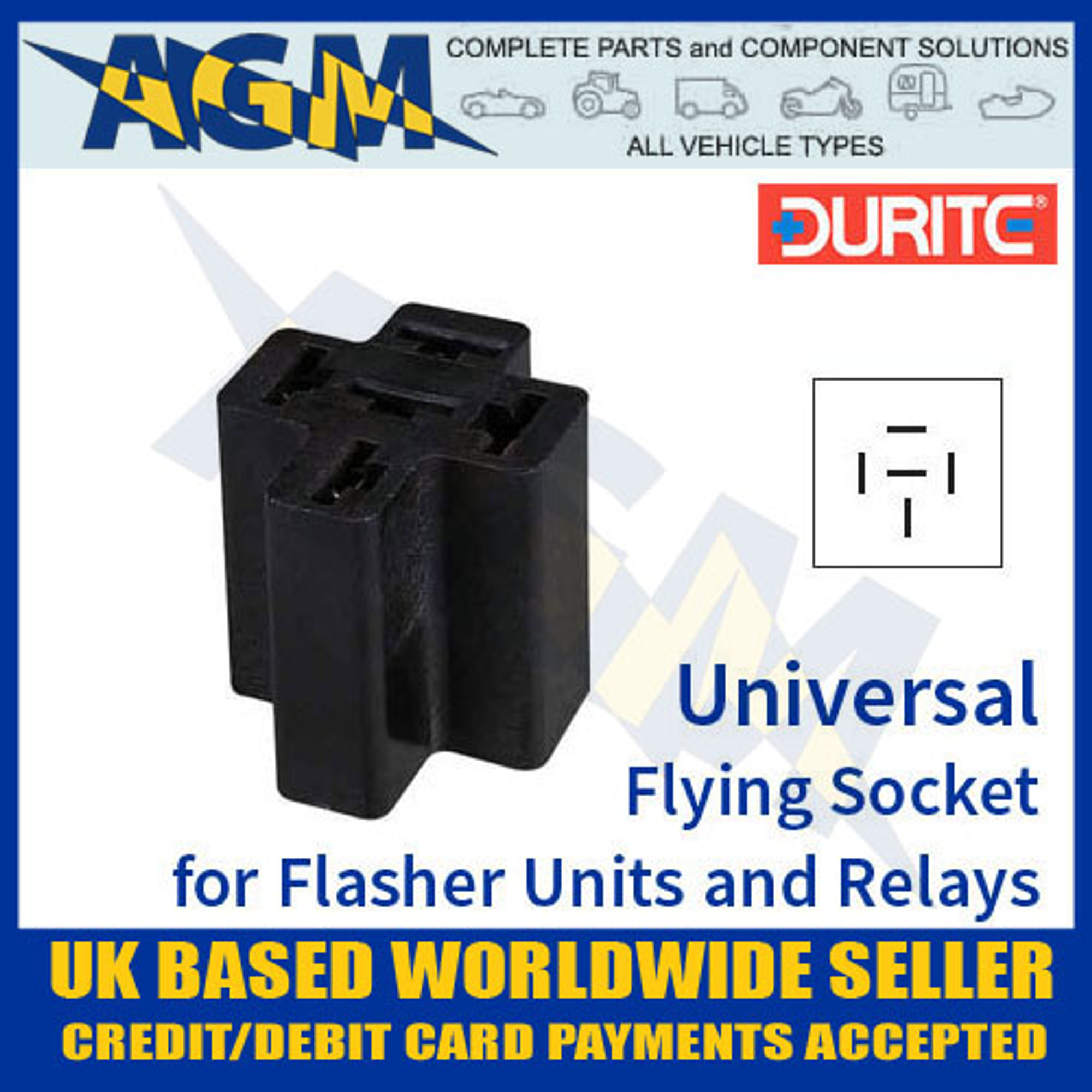 Durite Universal Flying Socket For Flasher Unit /& Relay 0-729-02