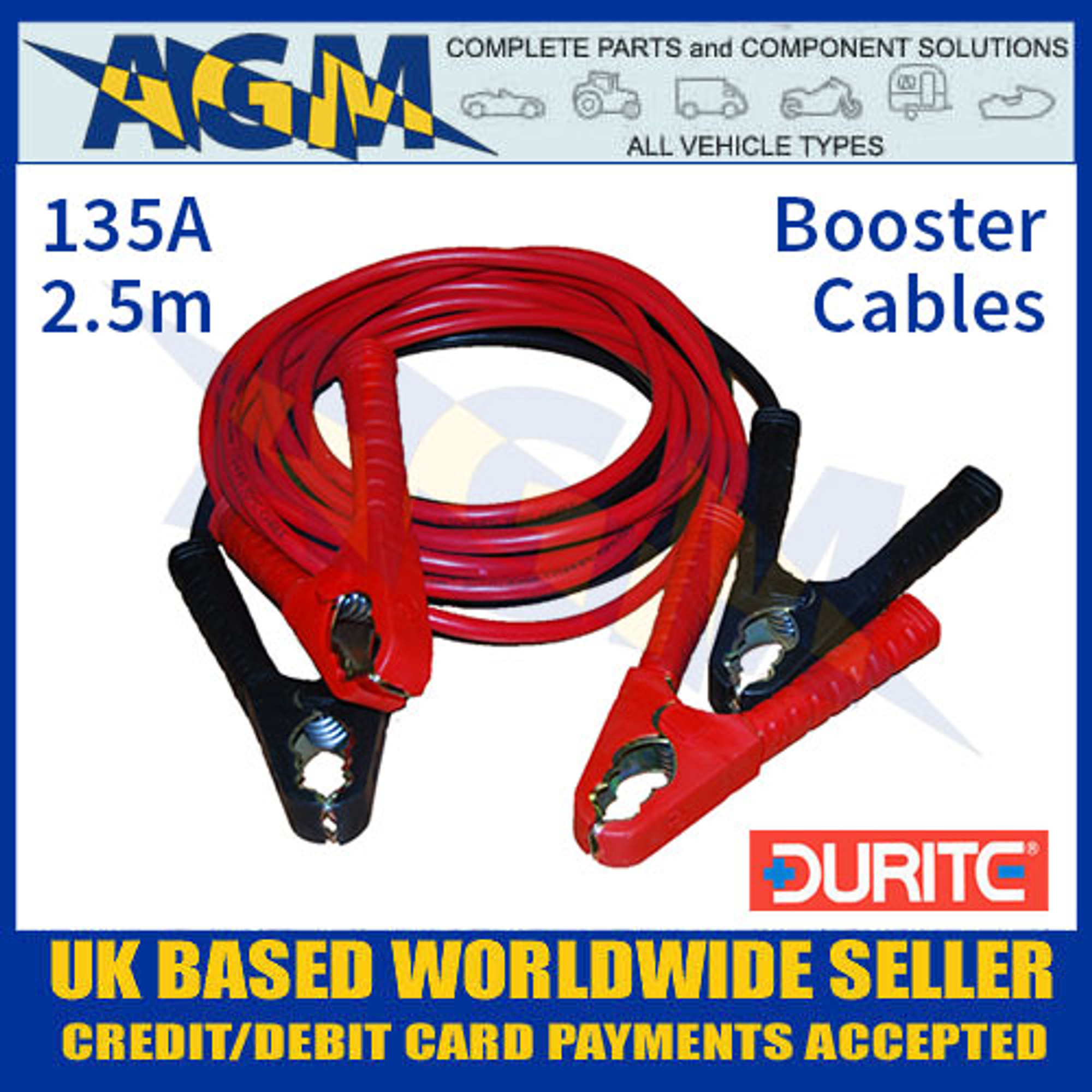 2.5m Booster Cables Durite 0-204-00 Set of Two Slave Leads 135A