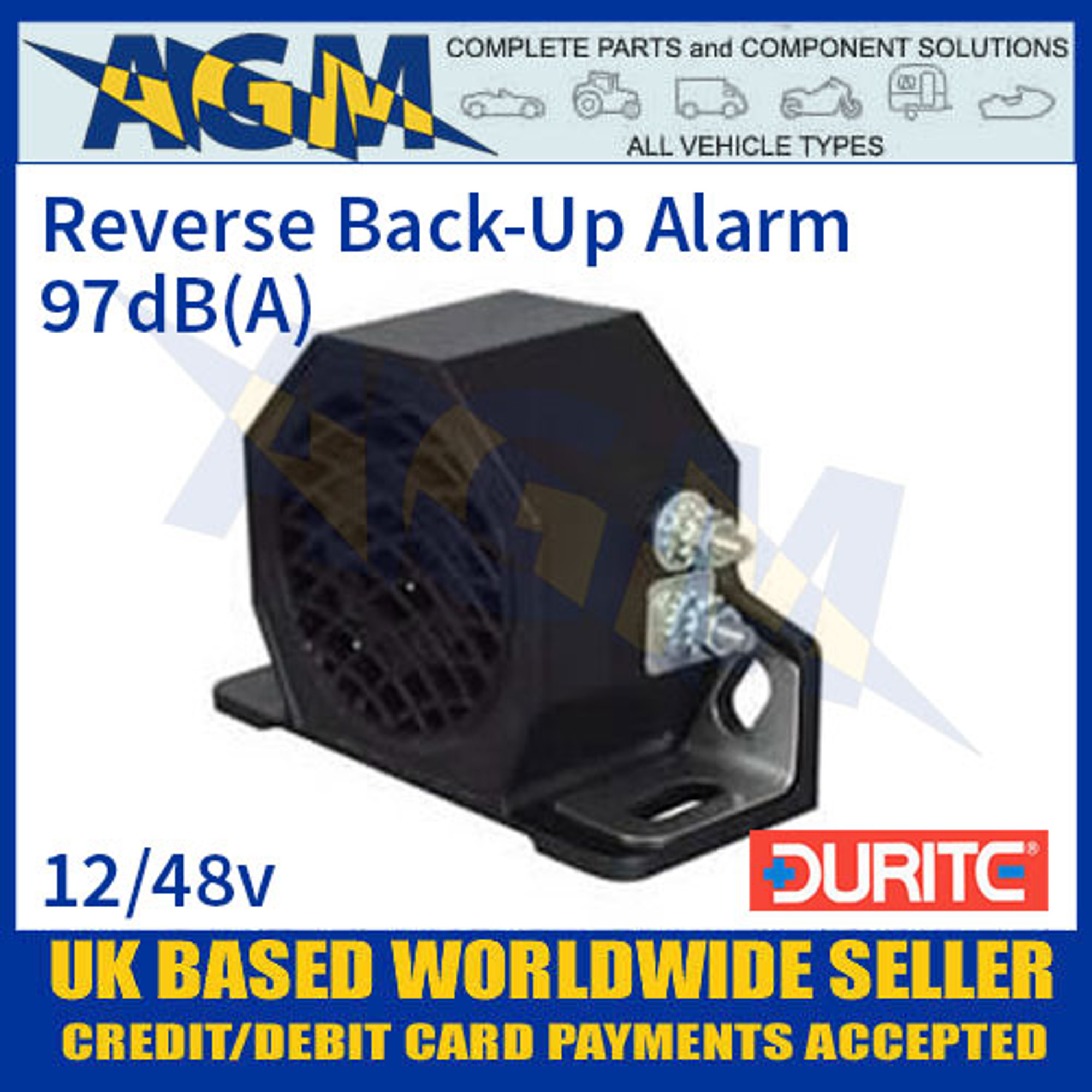 12 volt Durite 0-561-12 Compact Reverse Back Up Alarm 105Db