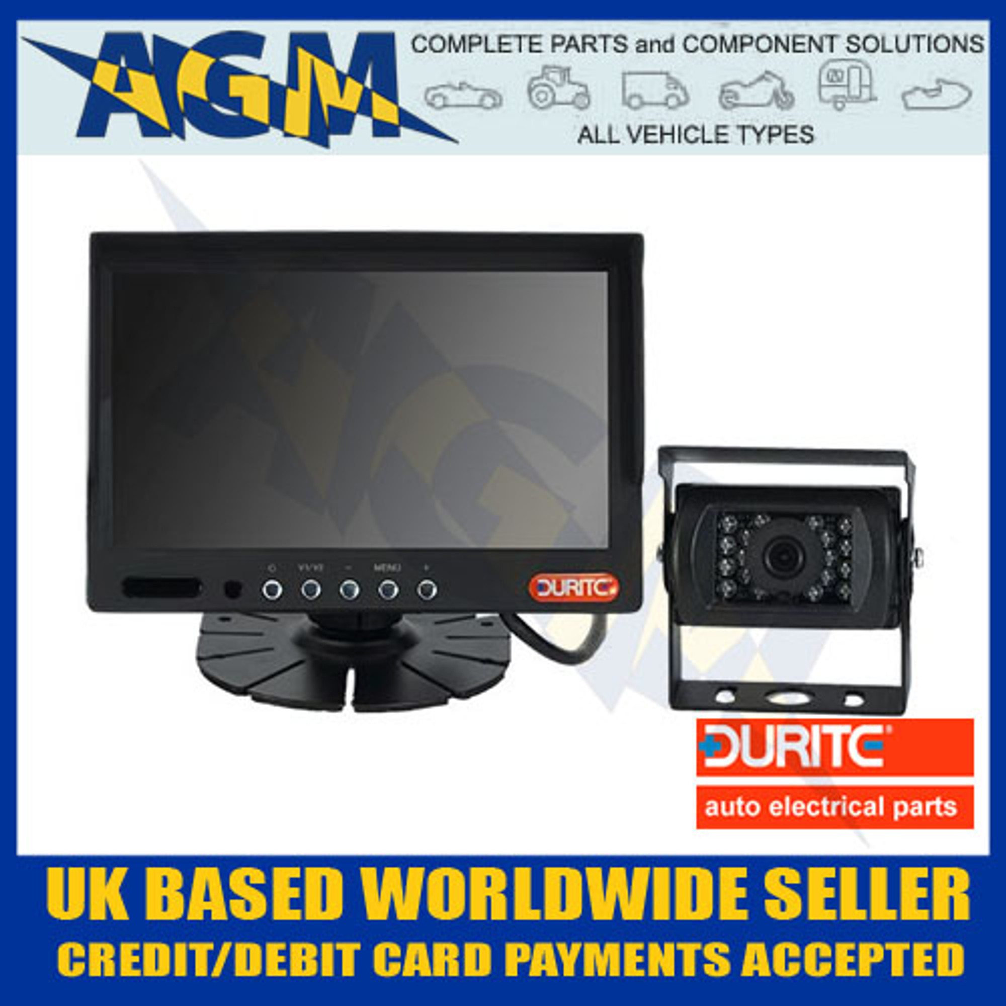 "Durite 0-776-66 Reverse Camera 7/"" Colour Monitor And Camera Kit 12//24v"