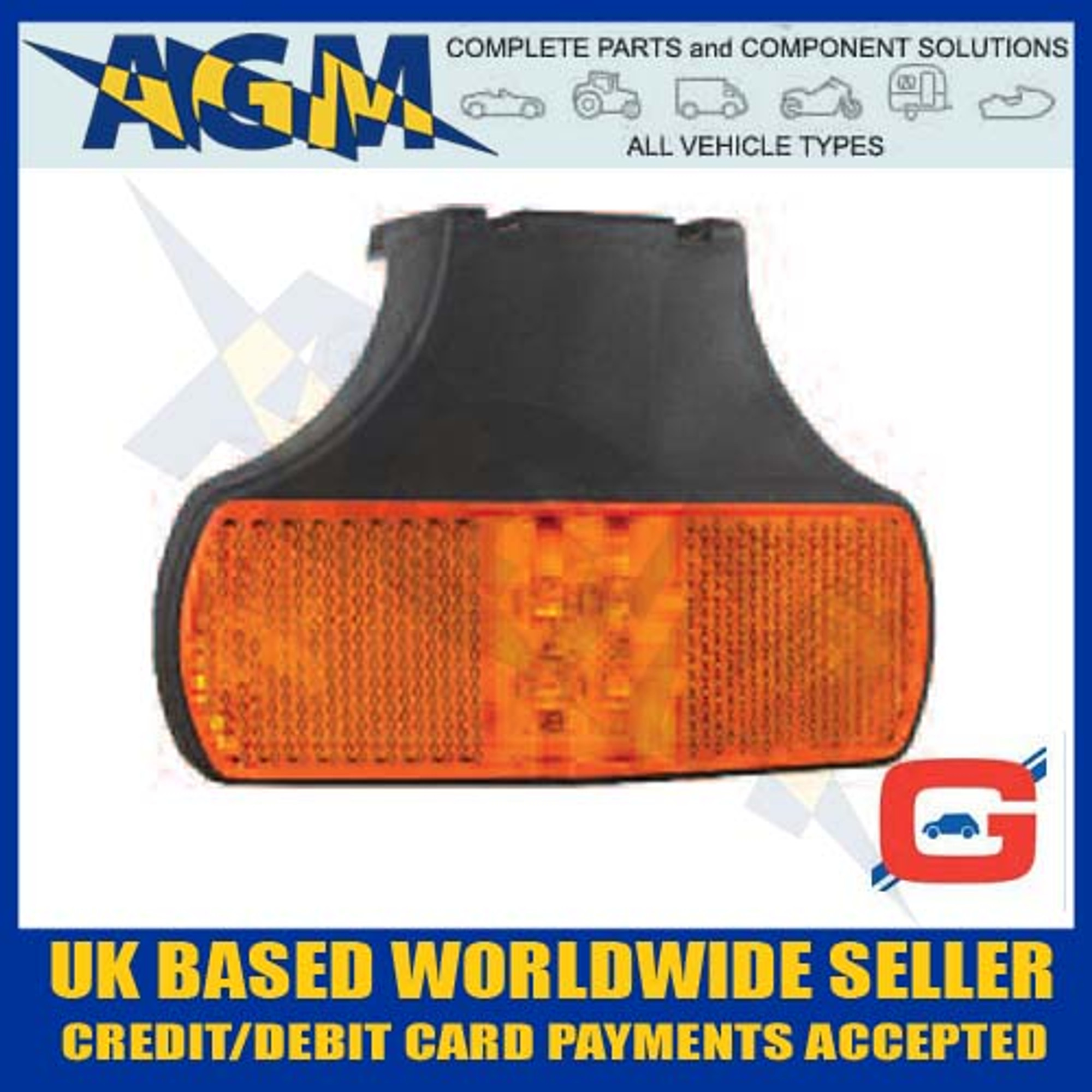 12//24V Amber LED Side Marker Lamp with Reflex Reflector and Superseal Plug
