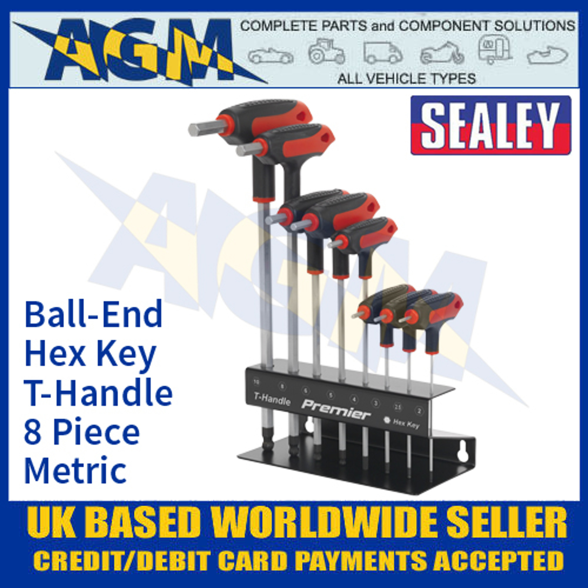 Sealey 11 Piece RED AK7164 Extra-Long Metric Hex//Allen Key Set Including Holder