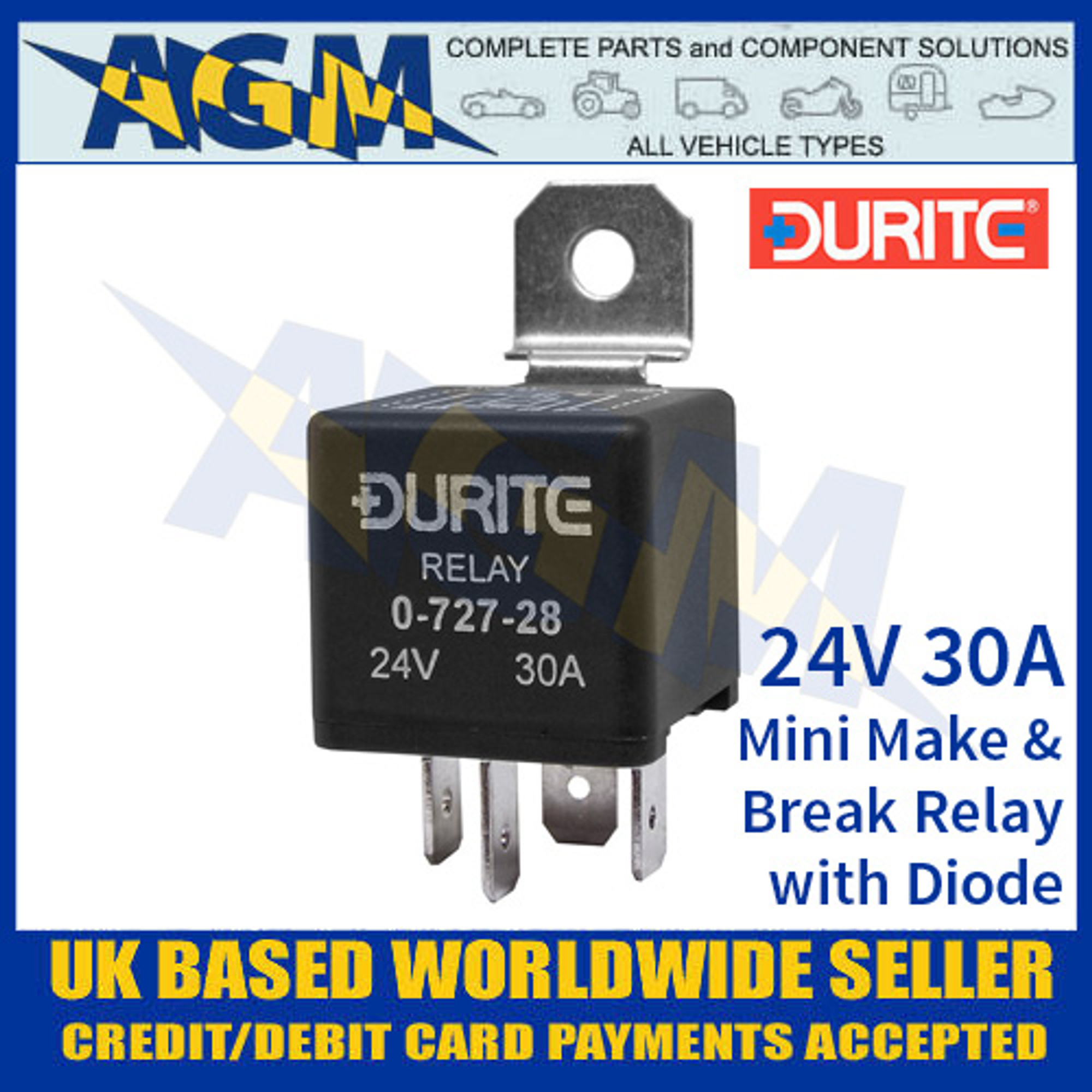 12V Mini Make//Break Relay with Diode 30A