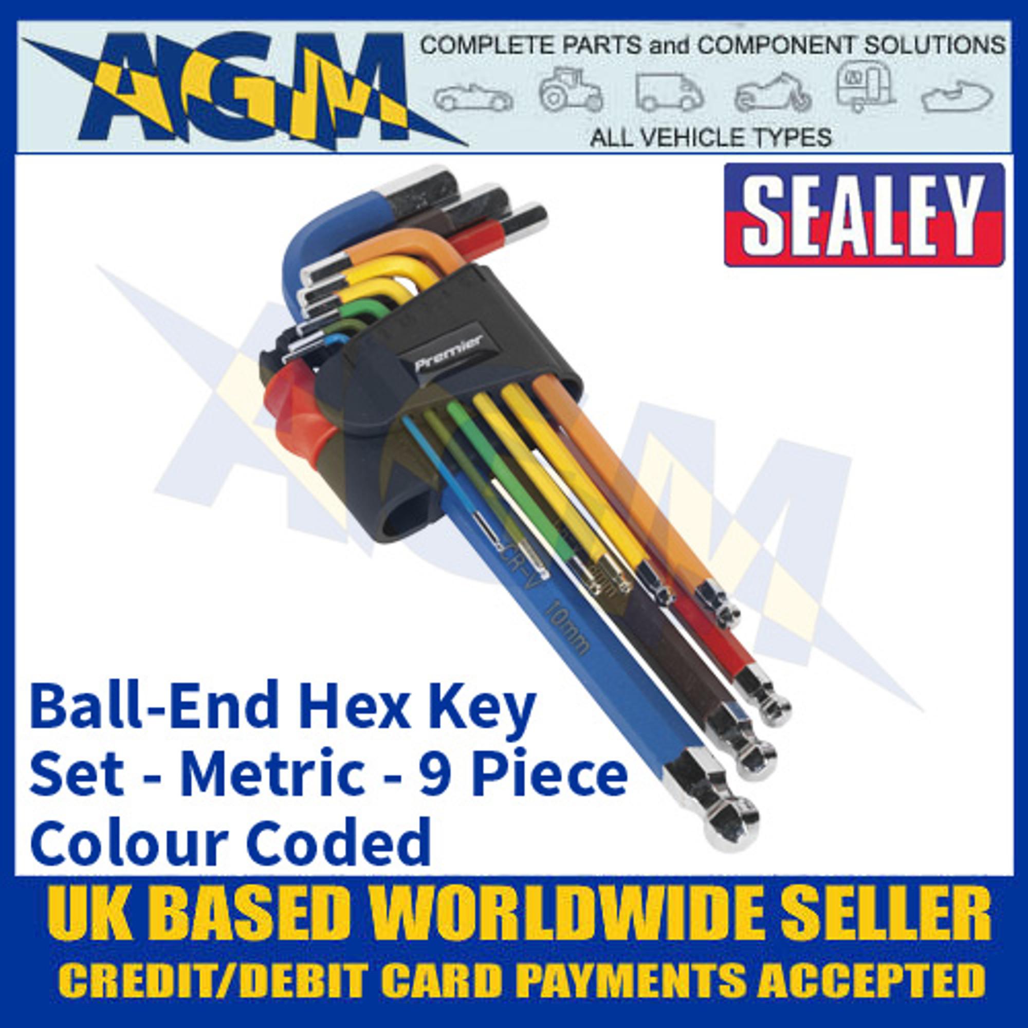 9X Colour-Coded Metric Long Arm 175mm Ball End  Allen Key Set 1.5-10mm