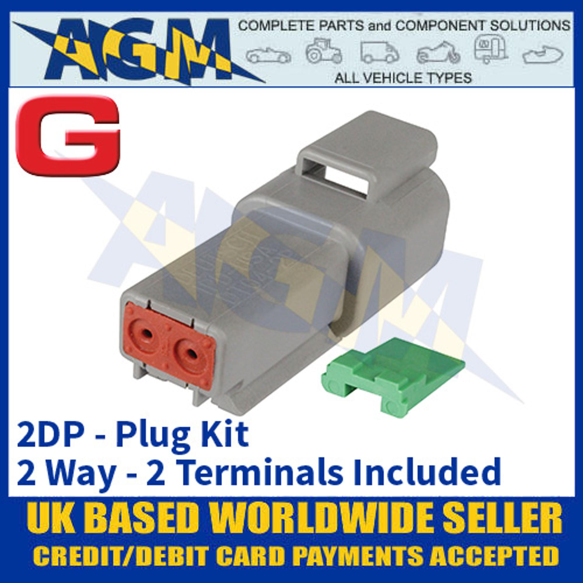 2 Terminals Included 2DP Plug Kit Deutsch /'DT/' Series Connector 2 Way